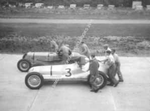 Multi Union & ERA . Chris Staniland and Bira , Brooklands September 1938  . photo
